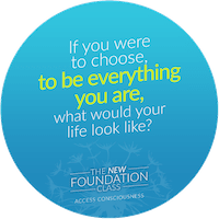 Access Consciousness. Blauer Kreis mit Text von